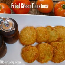 Crispy fried green tomatoes are breaded with panko crumbs at allourway.com