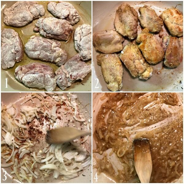 Collage of the first 4 steps to making chicken cacciatore.