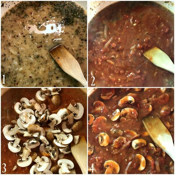 Collage of the second set of directions for Chicken Cacciatore.