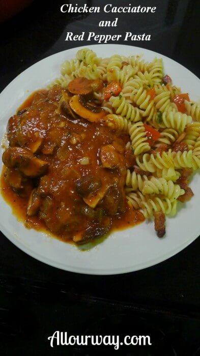 Chicken Cacciatore with Red Pepper Pasta at Allourway.com
