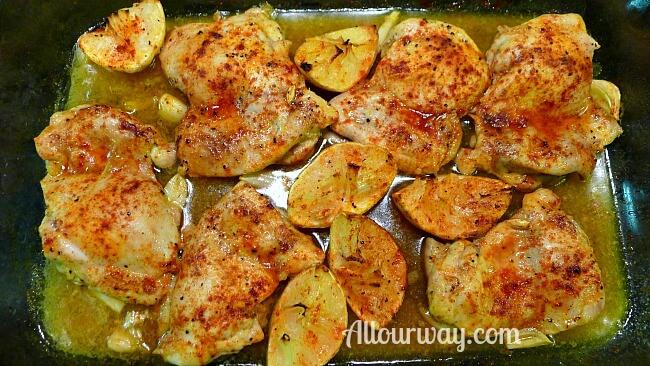 Lemon Garlic Chicken in Glass Dish Roasted at Allourway.com