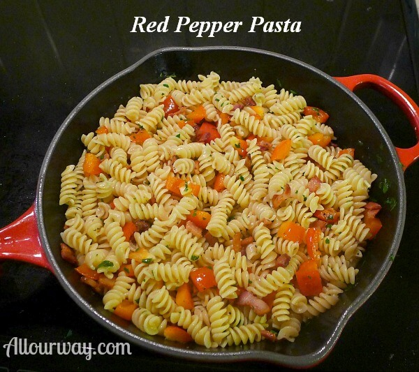 Red bell pepper rotini and bacon in skillet at allourway.com