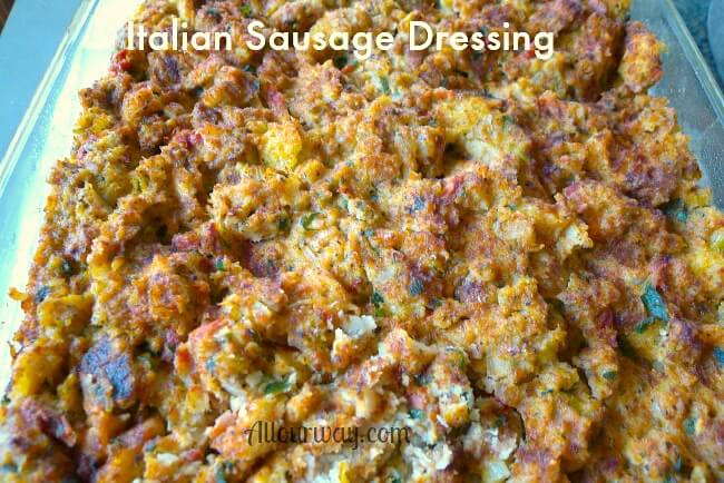 Top view of Italian sausage dressing has a golden brown crust on top.