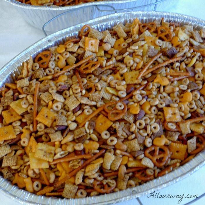 Party Mix is a delicious combination of nuts, cereal, pretzels, crackers and spiced up @allourway.com