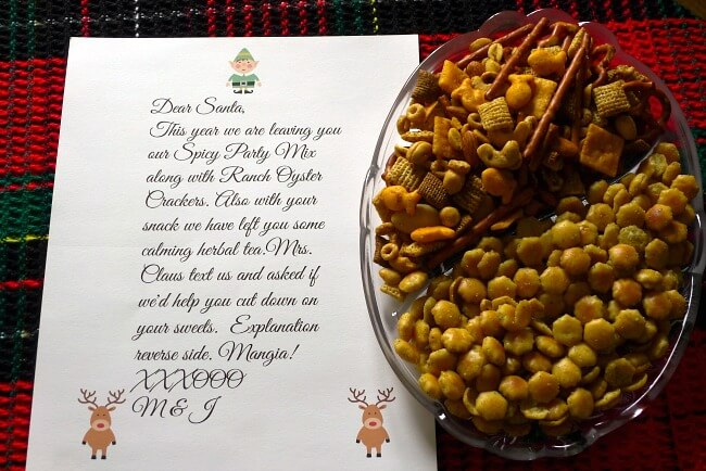 Party Mix and Ranch Oyster Crackers with letter to Santa @allourway.com