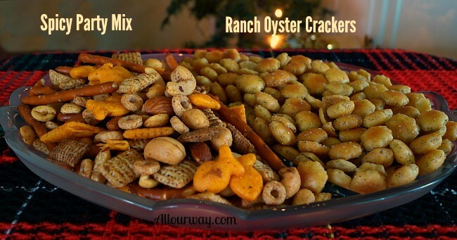 Spicy Party Mix and Ranch Seasoned Oyster crackers with dill in a glass dish on a green and red place mat. @allourway.com