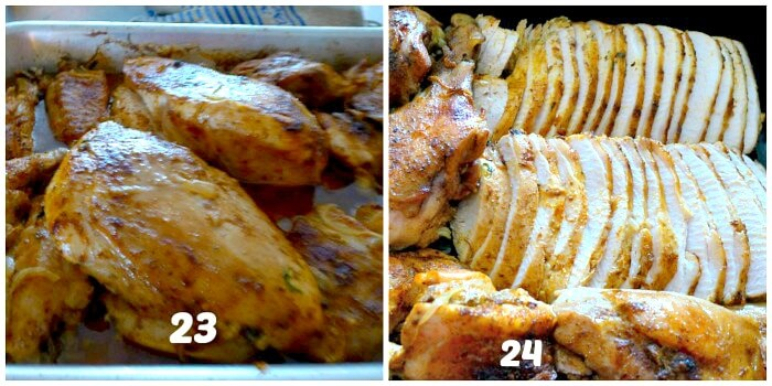 Collage of Perfect Roast Turkey Steps 23-24 finishing up on the turkey by having the slices in a pan.