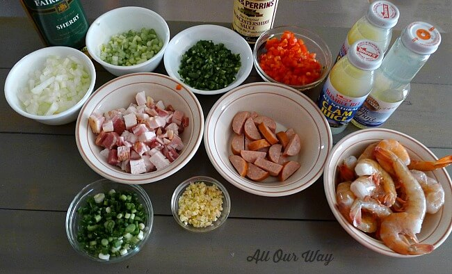 Ingredients for Louisiana Shrimp Gumbo ingredients