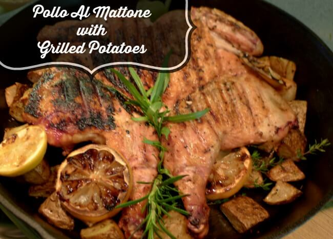 Pollo al Mattone with Grilled Potatoes in Cast-Iron Skillet @allourway.com