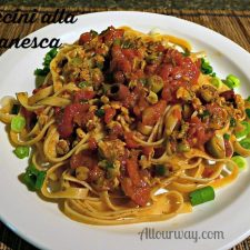 Puttanesca Sauce over fettuccini makes a spicy flavorful sauce over pasta @allourway.com