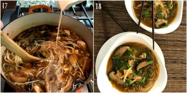 Collage of steps 17-18 Hot and sour soup.