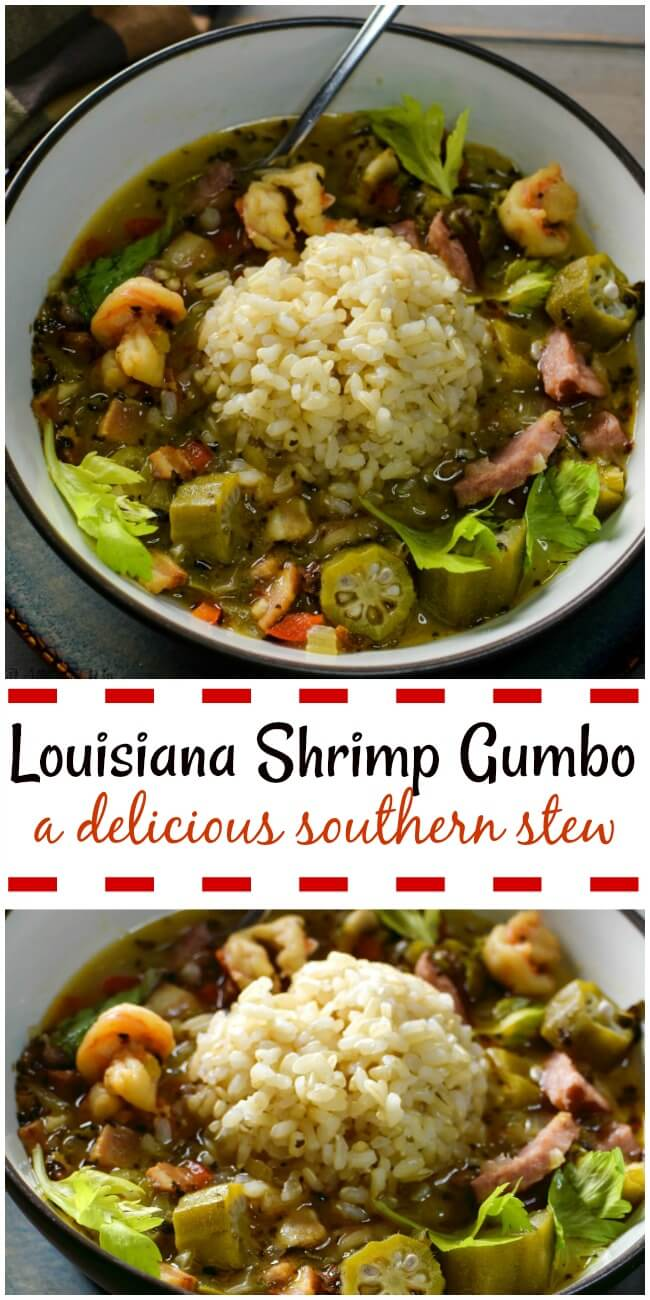 Louisiana Shrimp Gumbo in a Brown Bowl with a scoop of rice and garnished with celery leaves