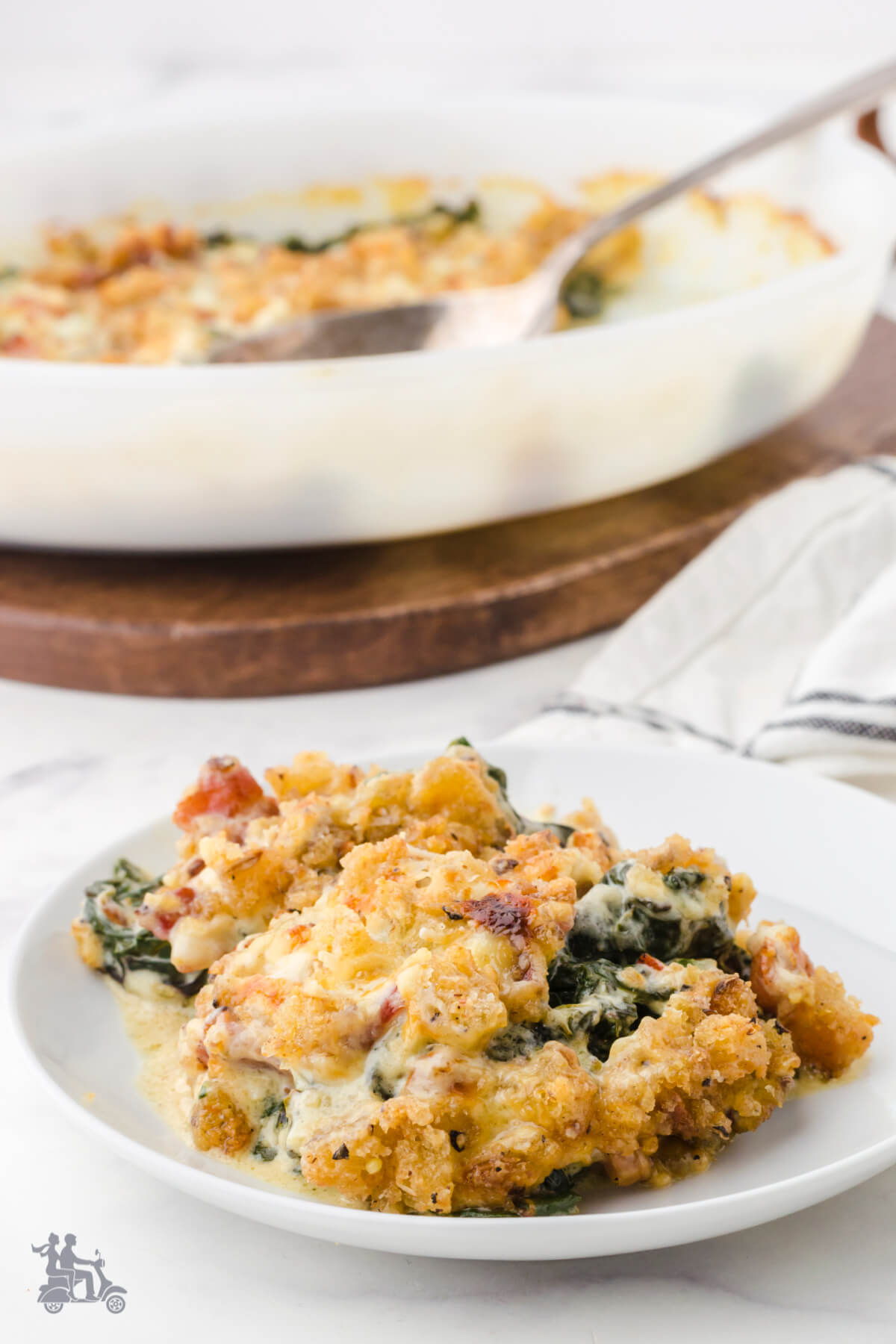 Serving of winter greens gratin as a vegetable side for the holidays.