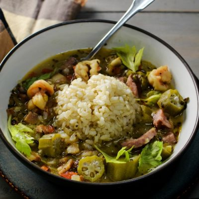 Louisiana Shrimp Gumbo in bowl with rice.
