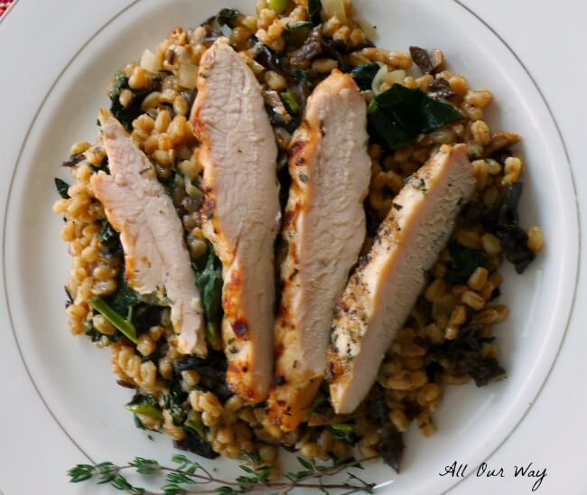 Grilled Rosemary Chicken with Farro and Kale Risotto @allourway.com