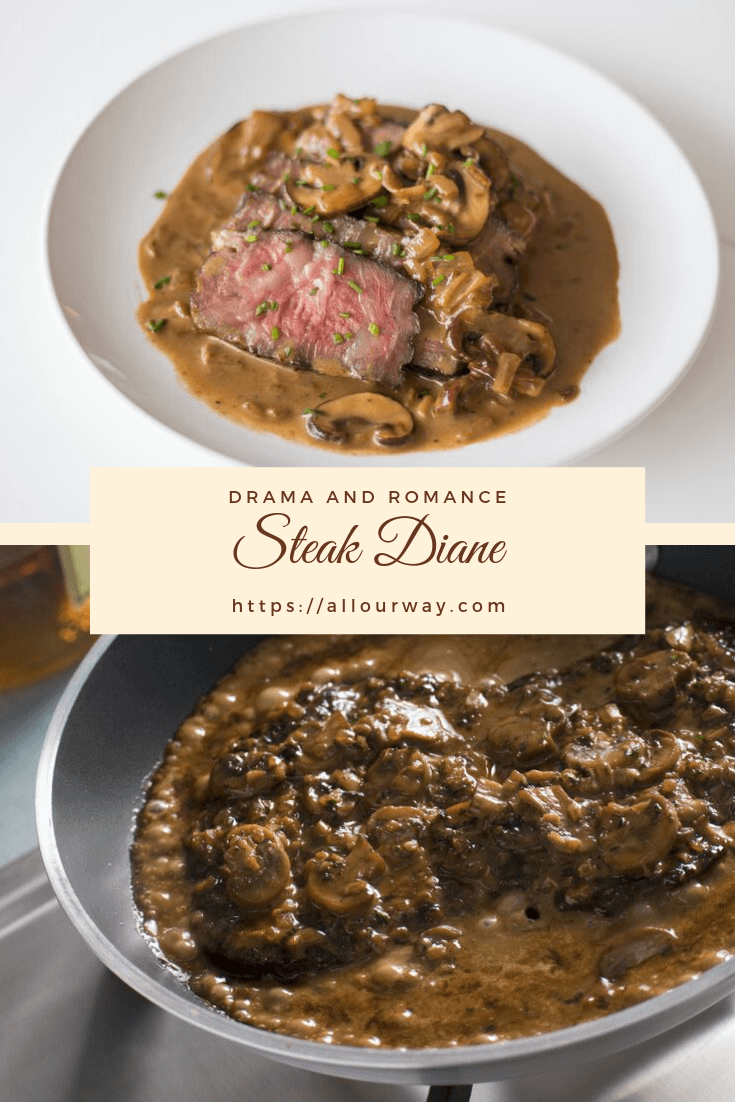 Steak Diane is all about the Steak Diane Sauce. The tender rib steaks are juicy but it's the flavorful pan sauce that takes the gravy to the stratosphere. Complete the dish in less than 30 minutes it's an ideal dish for a romantic dinner or company. #steakdiane, #quicksteakdiane, #ribsteak, #romanticdinner, #datenightindinner