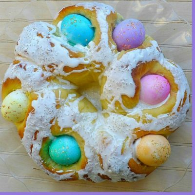 Italian Easter Bread With Colored Eggs {Corona Pasquale} Easter Tradition