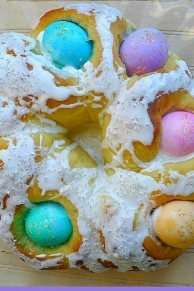 Italian Easter Bread With Colored Eggs {Corona Pasquale}