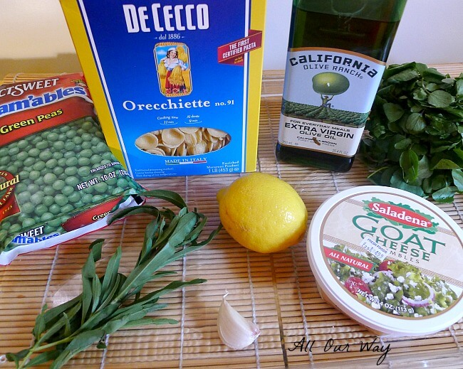 Orecchiette with cress and spring pea sauce ingredients @allourway.com
