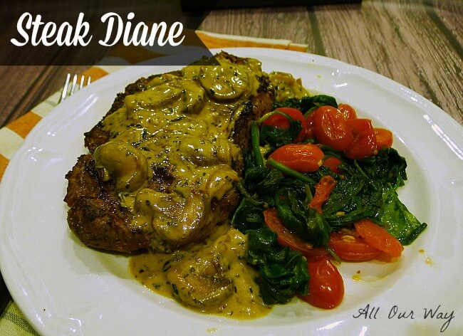 Steak Diane with Spinach and Grape Tomato Saute @allourway.com