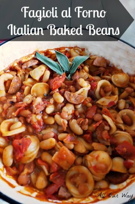 Fagioli al Forno-Italian Baked Beans with Pasta @allourway.com