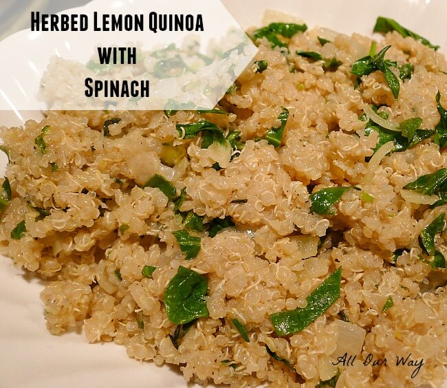 Healthy herbed lemon quinoa with spinach allourway.com