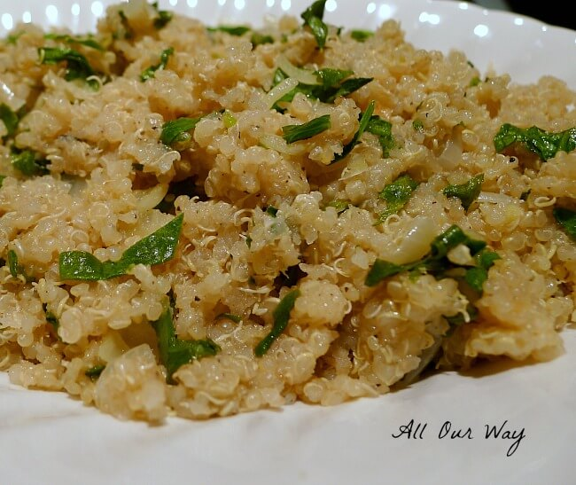 Healthy No gluten Herbed Lemon Quinoa with Spinach @allourway.com