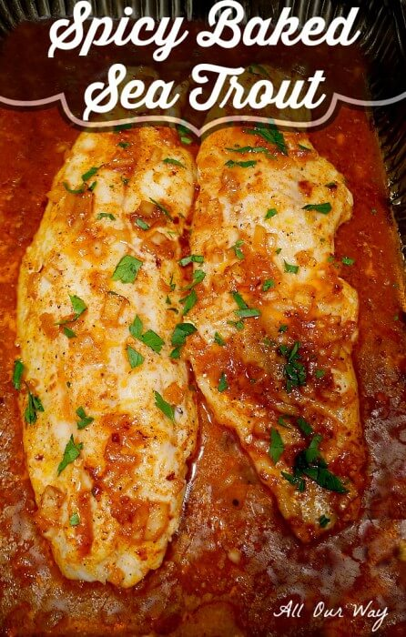 Spicy Baked Sea Trout in Lemon Butter Sauce @allourway.com
