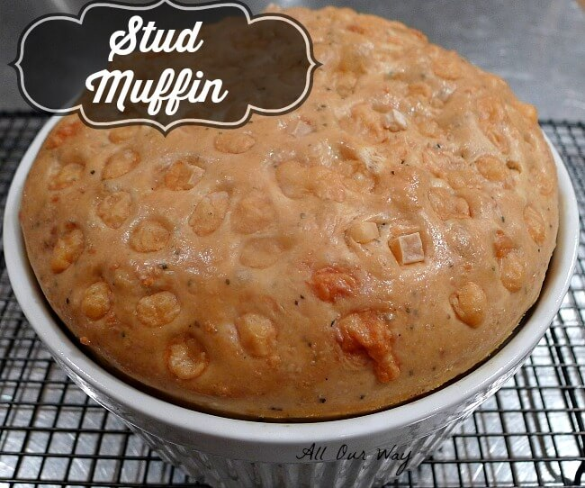 Stud Muffin is Baked and partially cooled on a rack @allourway.com