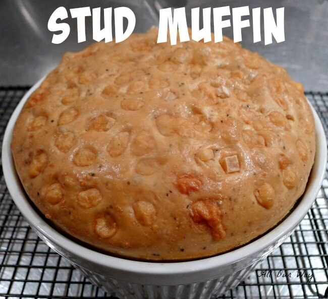 Stud Muffin in a souffle dish -- studded with Gruyère, cooling on a rack @allourway.com