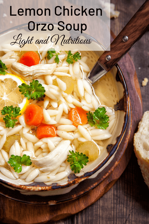 Italian Lemon Chicken Orzo soup is so light and nutritious you'll want to eat it year round. The lemon boosts the flavor of the chicken broth. Your family will love the orzo pasta in it! #chickensoup, #lemonorzosoup, #chickenorzosoup, #Italianchickensoup