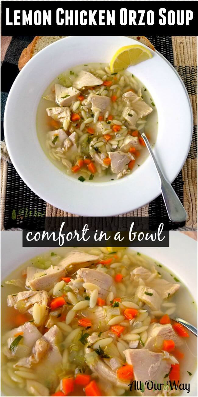 Lemon Chicken Orzo Soup is pure comfort in a bowl #chicken_soup, #orzo, #lemon_chicken, #comfort_food