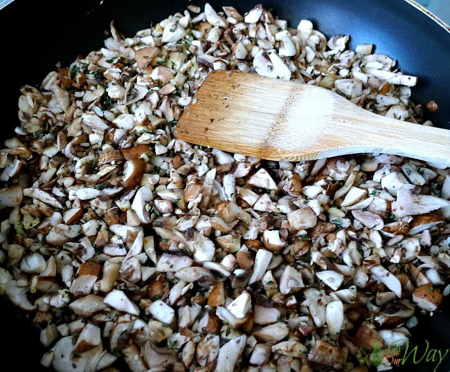 Triple mushroom in skillet ready to saute for filling @allourway.com