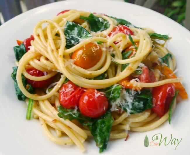 Roasted Grape Tomatoes and Garlic Pasta