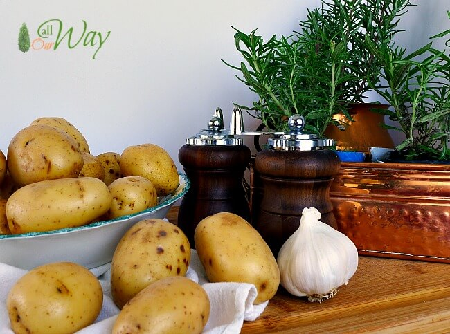 Ingredients for Roasted Rosemary Potatoes with Garlic are simple making it a fast and easy dish @allourway.com