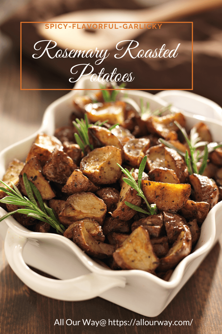 Simple ingredients of rosemary, garlic, olive oil , salt and pepper make this potato dish very flavorful. It is easy to prep ahead of time and then roast close to the time when you are ready to eat. The potatoes are crunchy on the outside , soft and tender on the inside. And ideal side with any protein. #potatoes, #roastedpotatoes, #garlicpotatoes, #herbedpotatoes, #potatoside, #quickside
