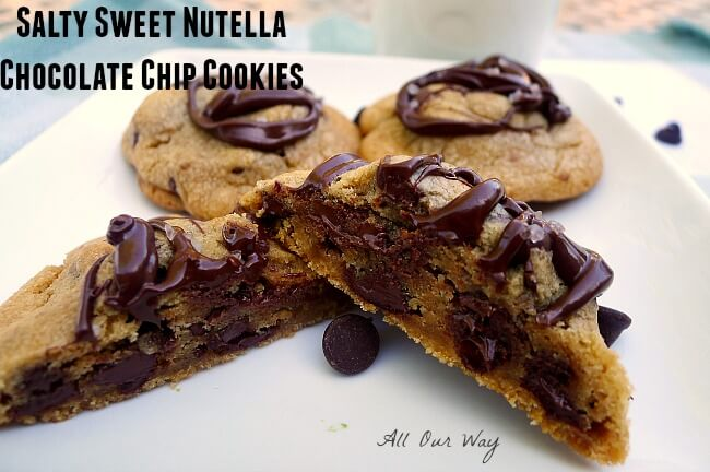 Chocolate chip cookies drizzled with chocolate and sprinkled with sea salt @allourway.com