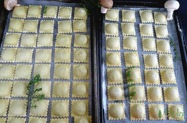 Triple Mushroom Ravioli with Cheese on Tray ready for freezing @allourway.com