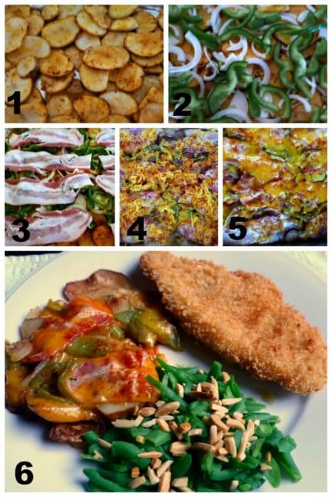 Steps for making grilled cheesy potatoes, peppers, bacon, onions @allourway.com