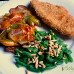 Grilled cheesy potatoes, peppers, bacon, onions with crunchy fired fish and green beans almondine @allourway.com