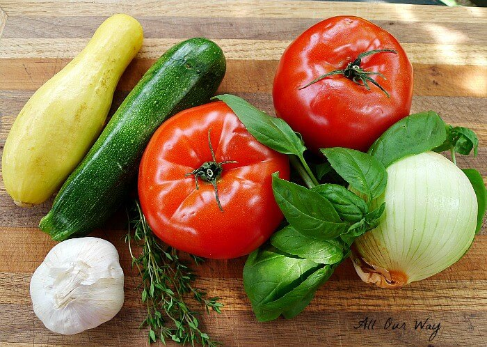 Garden fresh ingredients for the stuffing the tomatoes @allourway.com
