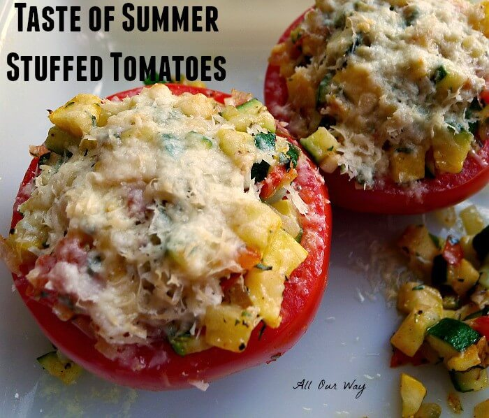 Tomatoes are stuffed with zucchini, summer squash, onion, garlic and flavored with basil, thyme and Parmesan Cheese @allourway.com