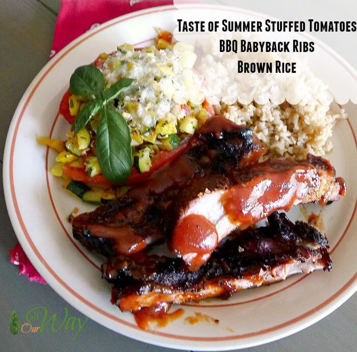 Taste of summer stuffed tomatoes, bbq baby back ribs and brown rice @allourway.com