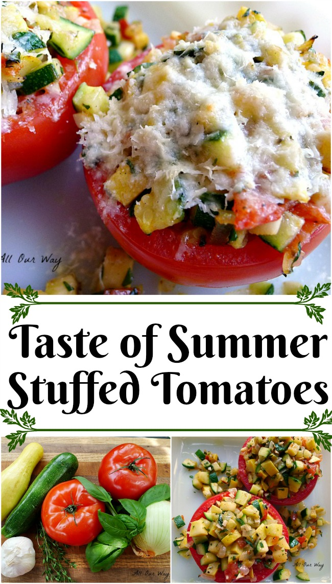 Stuffed Tomatoes are filled with a delicious combination of zucchini, summer squash and seasonings. Topped with mozzarella cheese it is an ideal side for a summer meal.