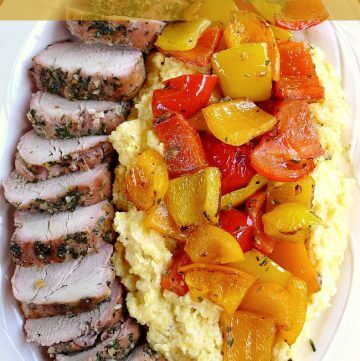 Grilled pork tenderloin with colored peppers over polenta @allourway.com