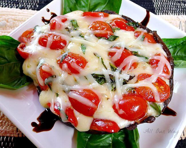 Grilled portobello mushroom alla caprese was so good we made it the following night @allourway.com
