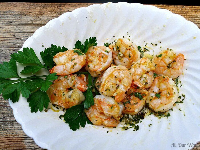 Grilled Shrimp is tossed in a garlic lemon vinaigrette after cooking @allourway.com