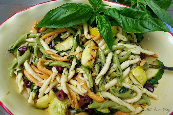 Grilled zucchini summer squash with Strozzapreti tossed with lemon vinaigrette @ allourway.com