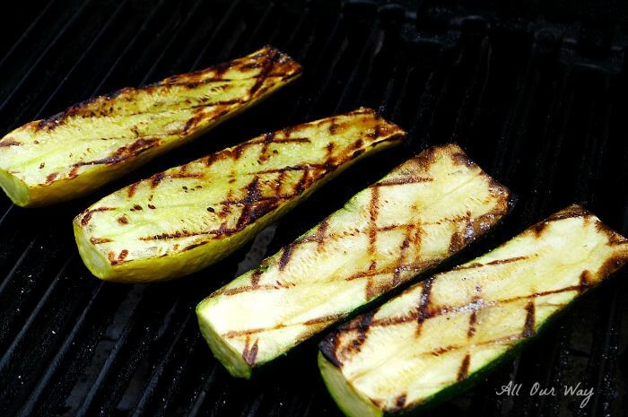 Grilled zucchini and summer squash with grill marks @allourway.com