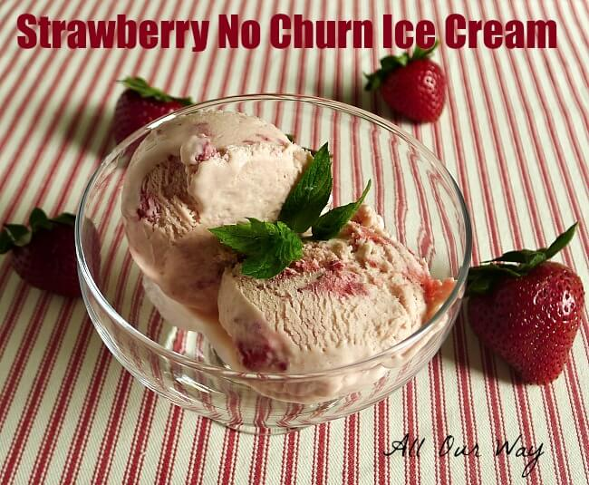 Strawberry no churn ice cream with a two ingredient base @allourway.com